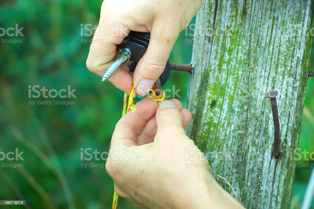 Farmer binding the wire in pasture stock photo