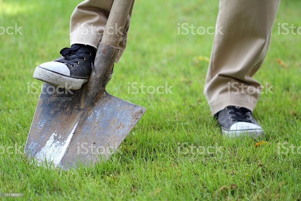 Farmer boy cultivating his garden stock photo