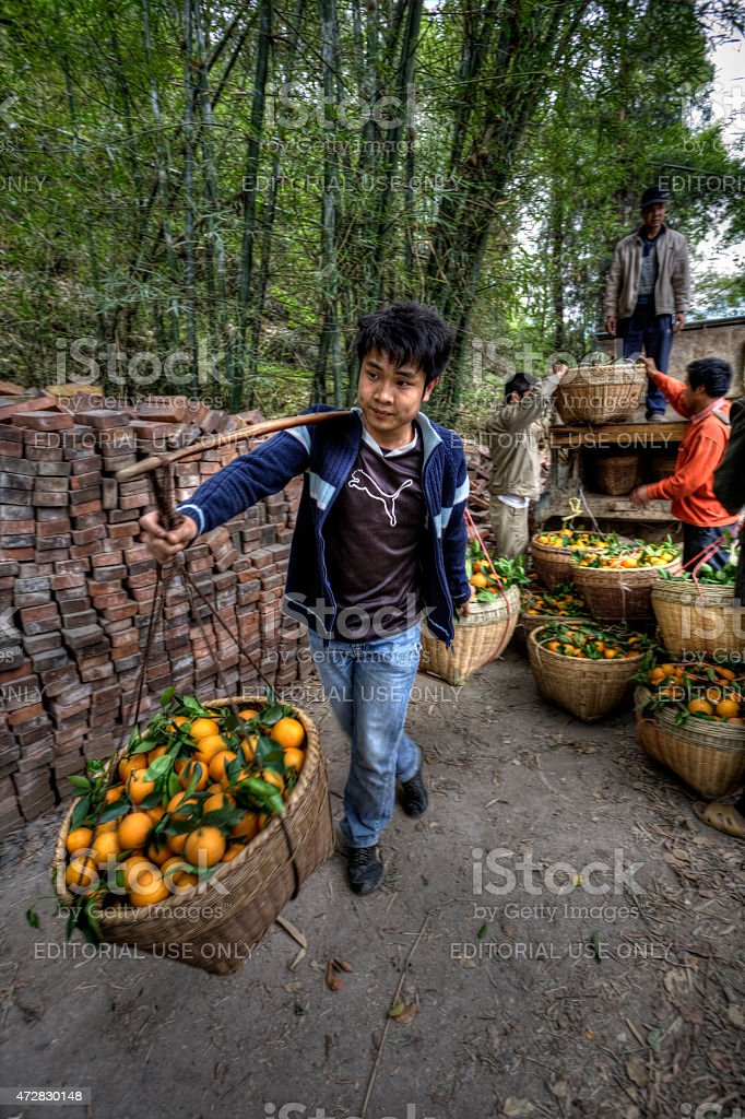 Farmer carrying baskets with shoulder pole on outdoor, Guangxi, China stock photo