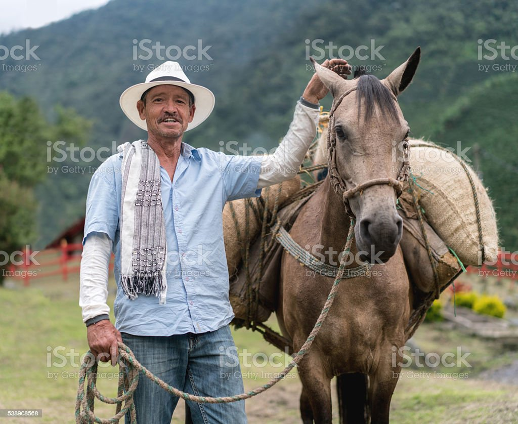 Farmer carrying crop on a horse stock photo