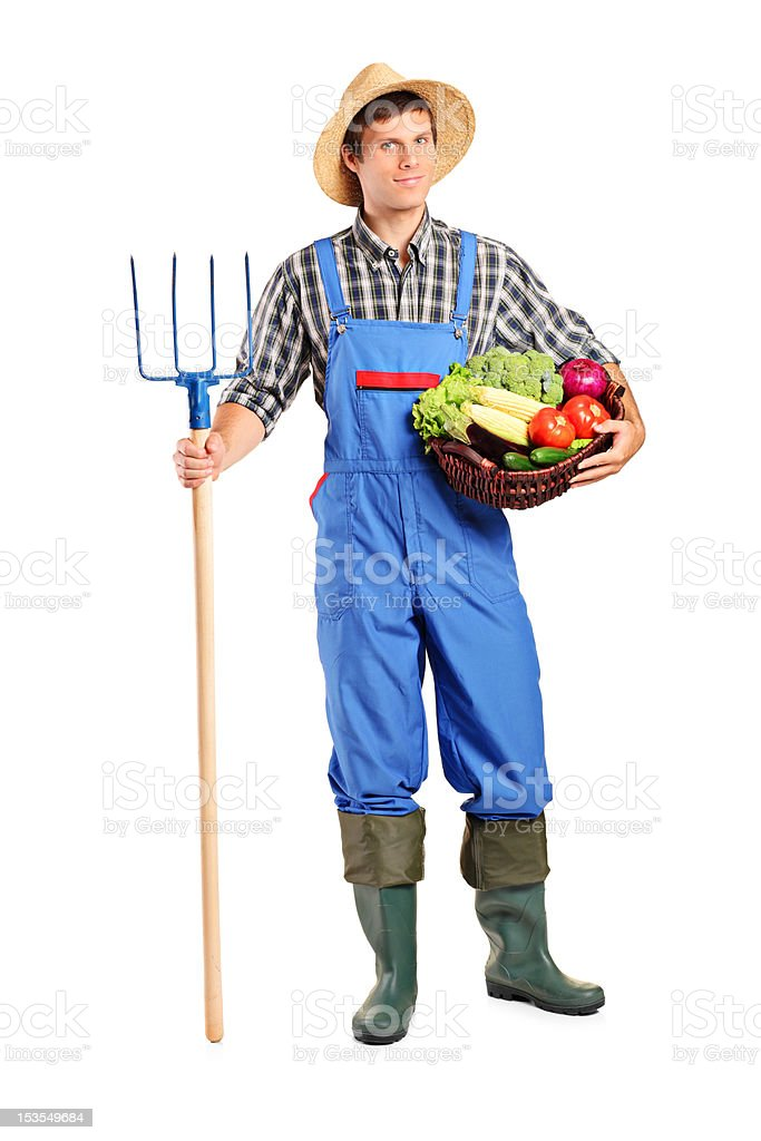 Farmer holding a pitchfork and bucket with vegetables stock photo