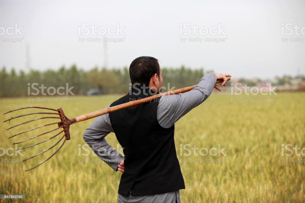 Farmer holding fork (Agricultural Equipment) stock photo