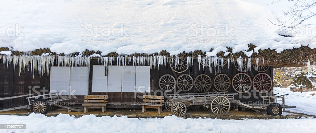 farmer house in winter stock photo