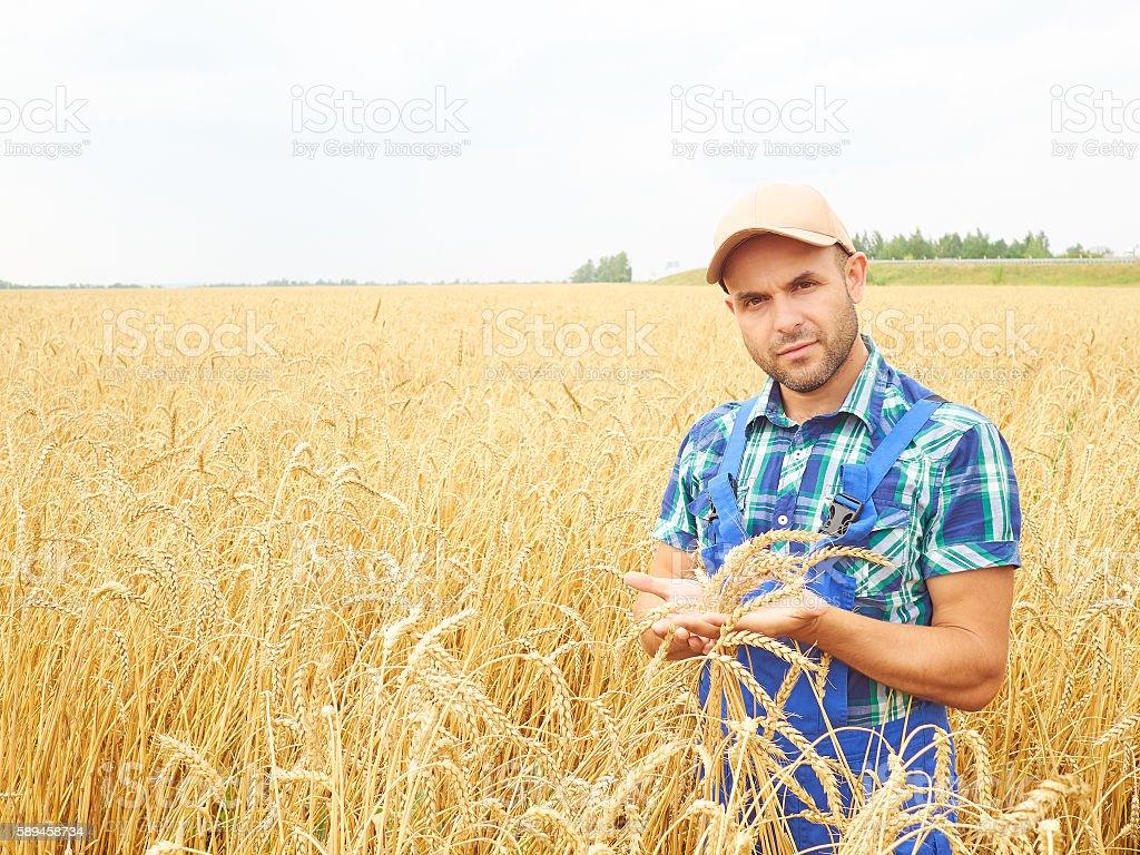 Farmer in a plaid shirt controlled his field.. stock photo