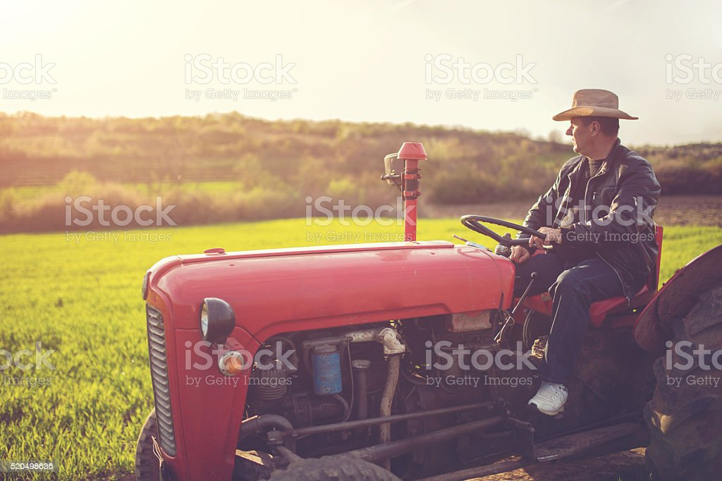 Farmer on a spring day stock photo