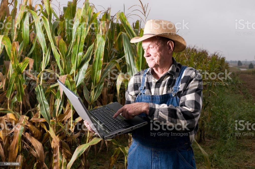 Farmer on laptop royalty-free stock photo