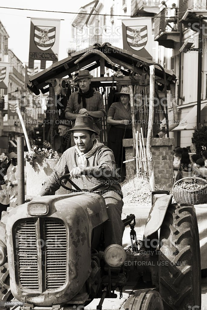 Farmer on tractor royalty-free stock photo