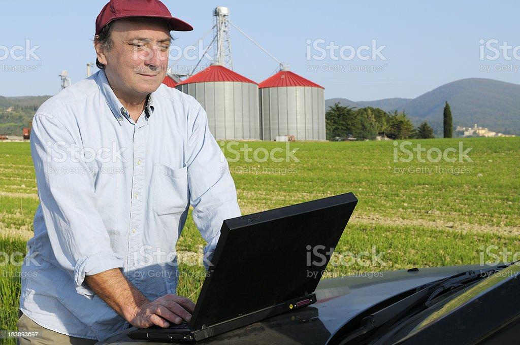 Farmer Planning PC royalty-free stock photo