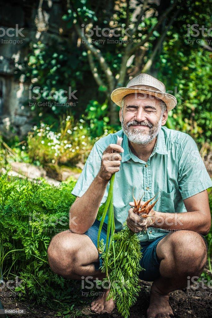 Farmer portrait in his vegetable garden stock photo