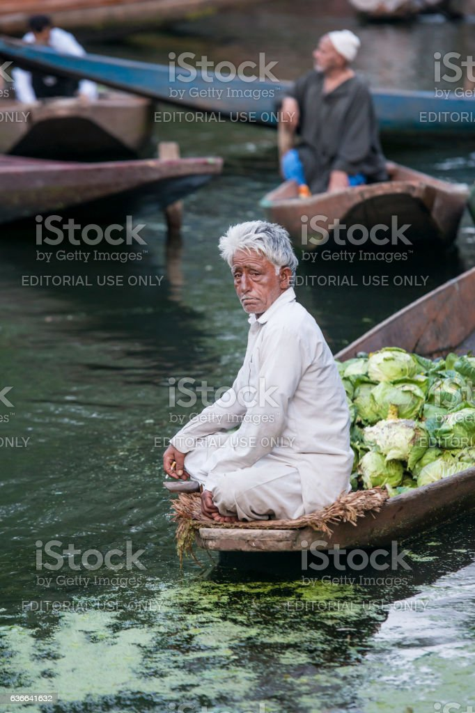 Farmer selling vegetables on floating market at Lake Dal, India stock photo