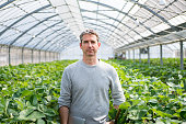 Farmer standing in his greenhouse looking confident with a computer