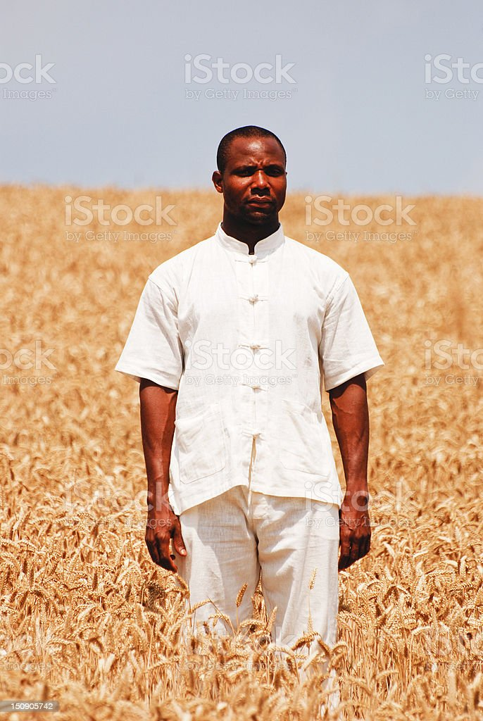 Farmer staying in the middle of wheat field royalty-free stock photo
