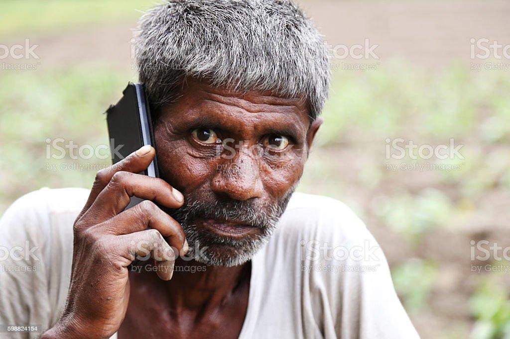 Farmer Talking On The Phone stock photo