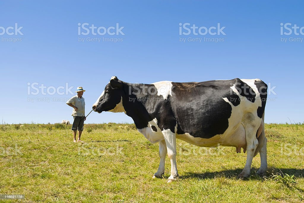 Farmer tending to mill cart on hot sunny day stock photo