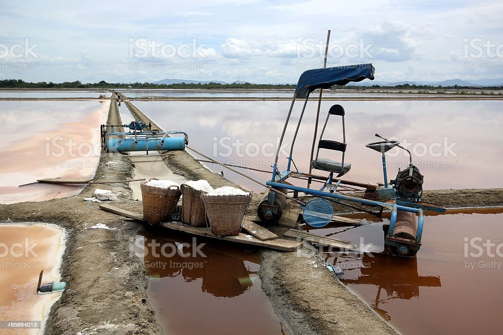 farmer tools and salt in basket stock photo