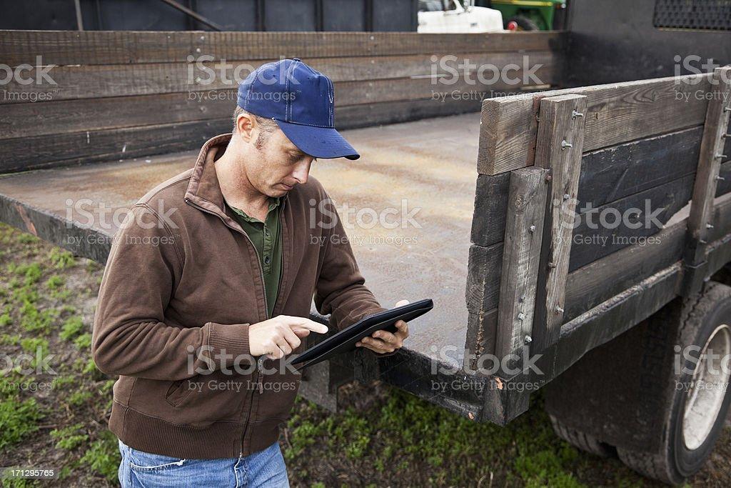 Farmer using digital tablet royalty-free stock photo