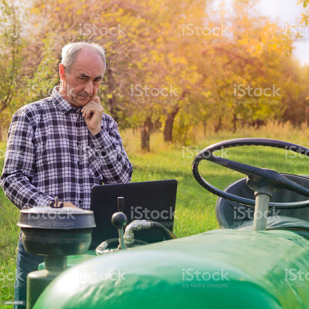 Farmer Using Laptop Computer. stock photo