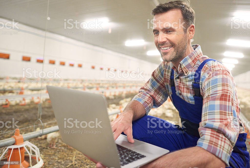 Farmer using laptop in the farm business stock photo