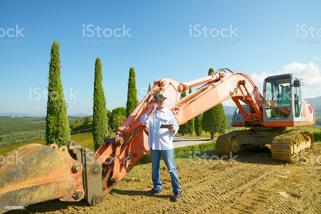Farmer using tablet stock photo