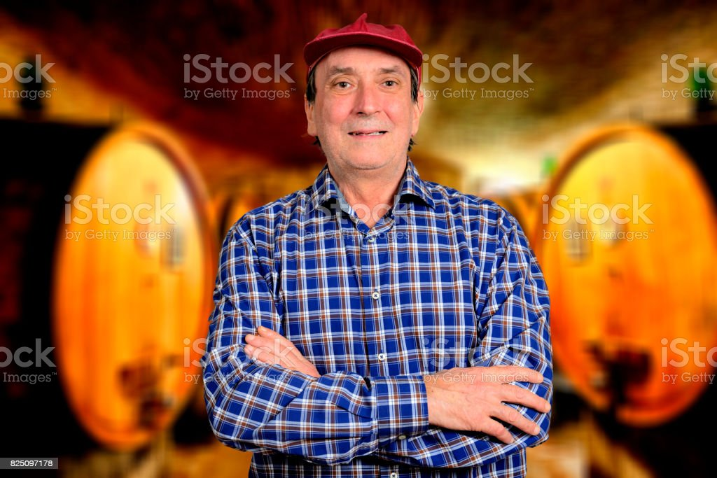 Farmer with barrels of wine, blurred background stock photo