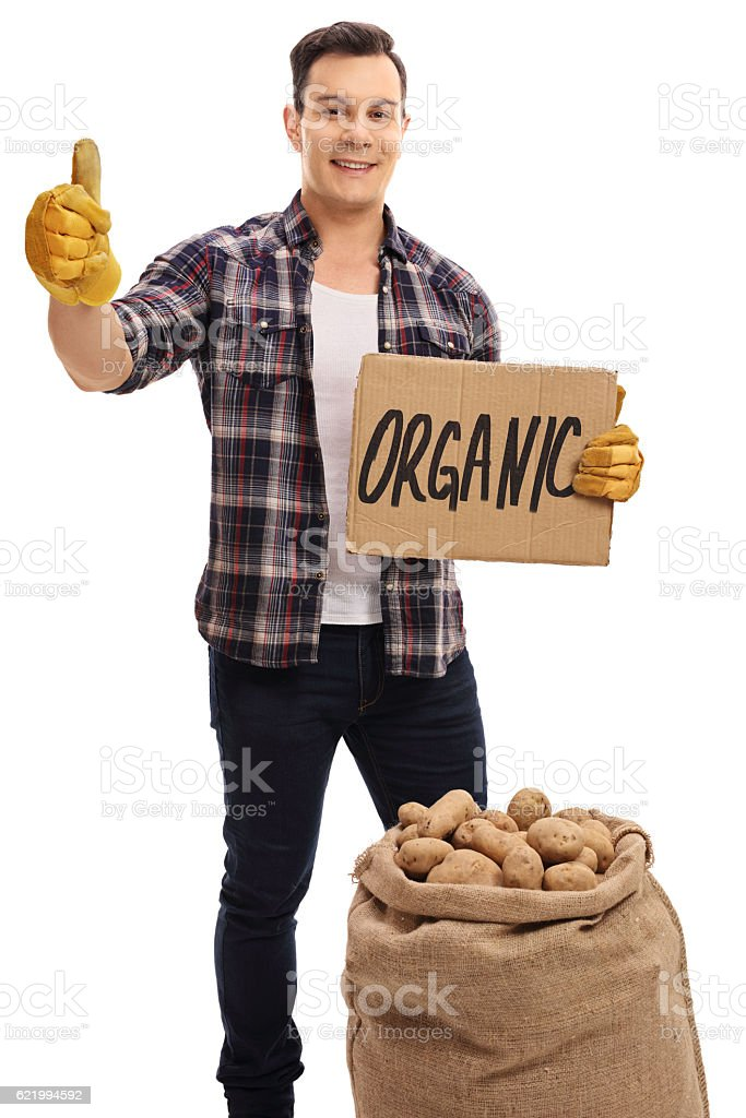 Farmer with burlap sack holding cardboard sign and giving thumb stock photo
