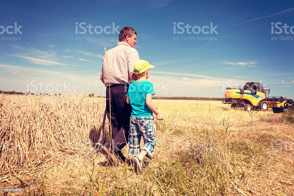 Farmer with his son on the field stock photo