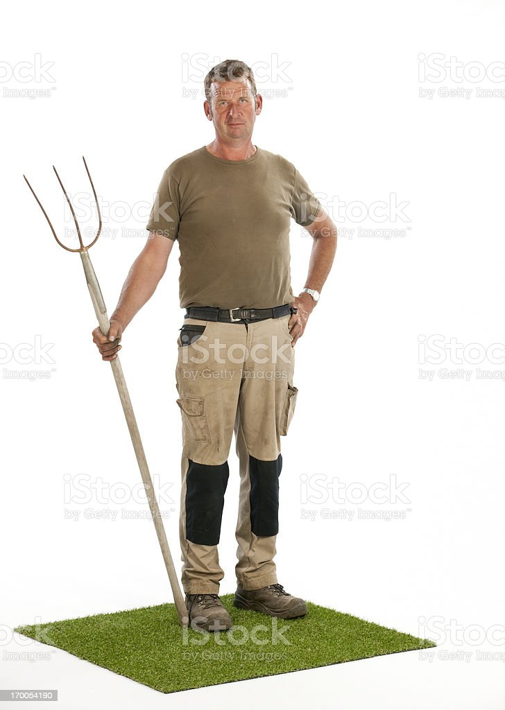 farmer with pitchfork stock photo