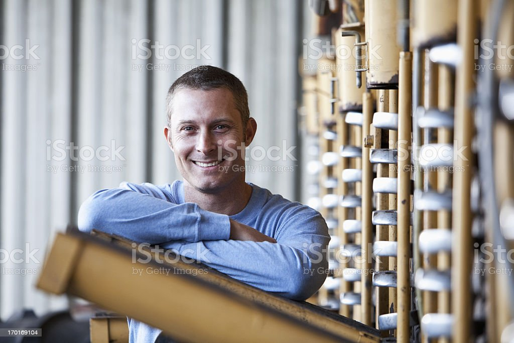 Farmer with potato harvester stock photo