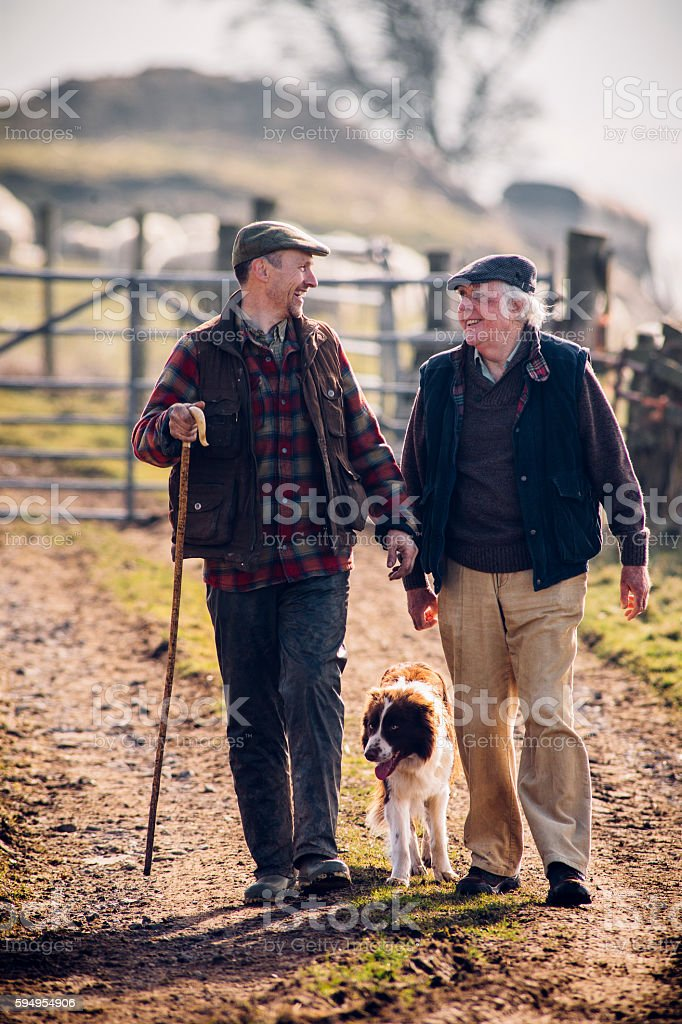 Farmers and their Dog stock photo