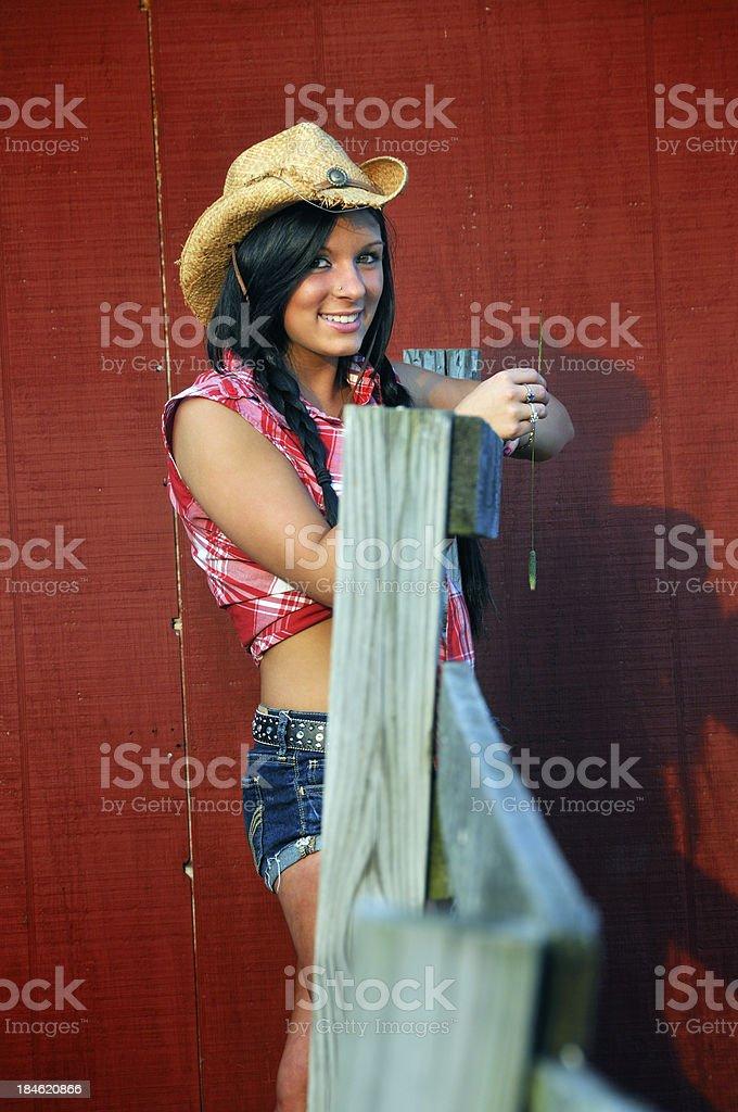 Farmer's Cowgirl Daughter Portrait stock photo