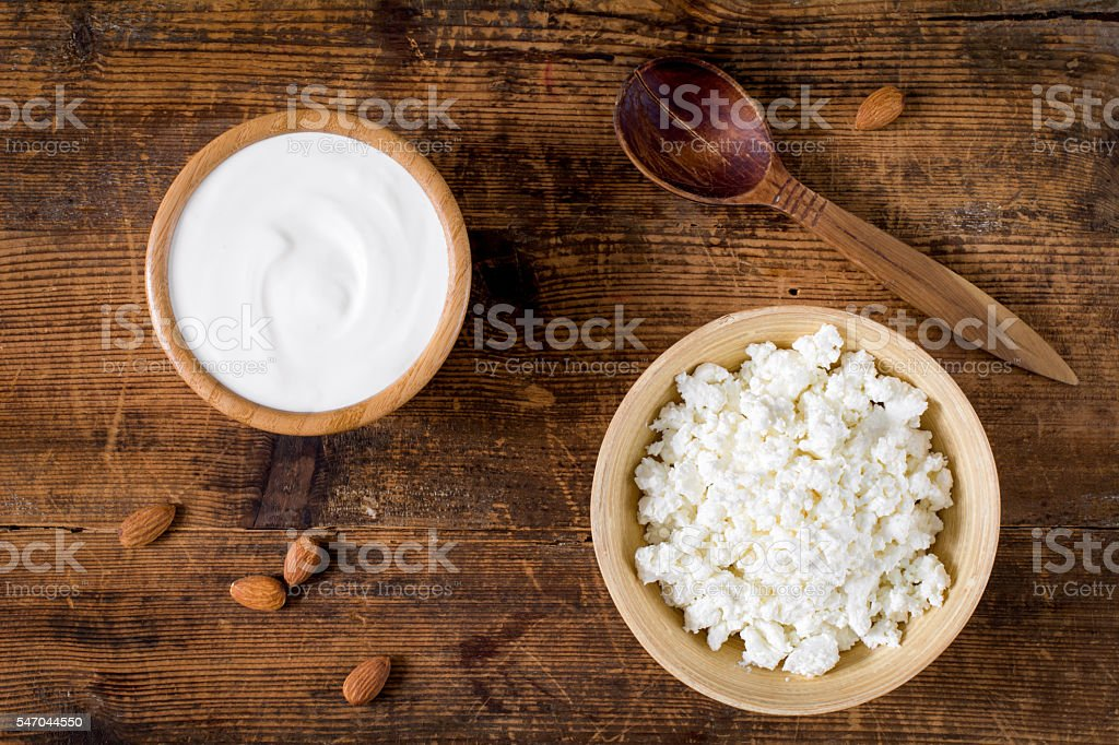 Farmers dairy products yogurt and cottage cheese stock photo