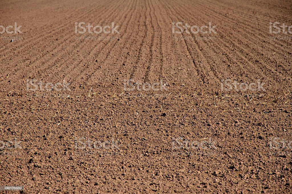 Farmers field recently ploughed earth stock photo