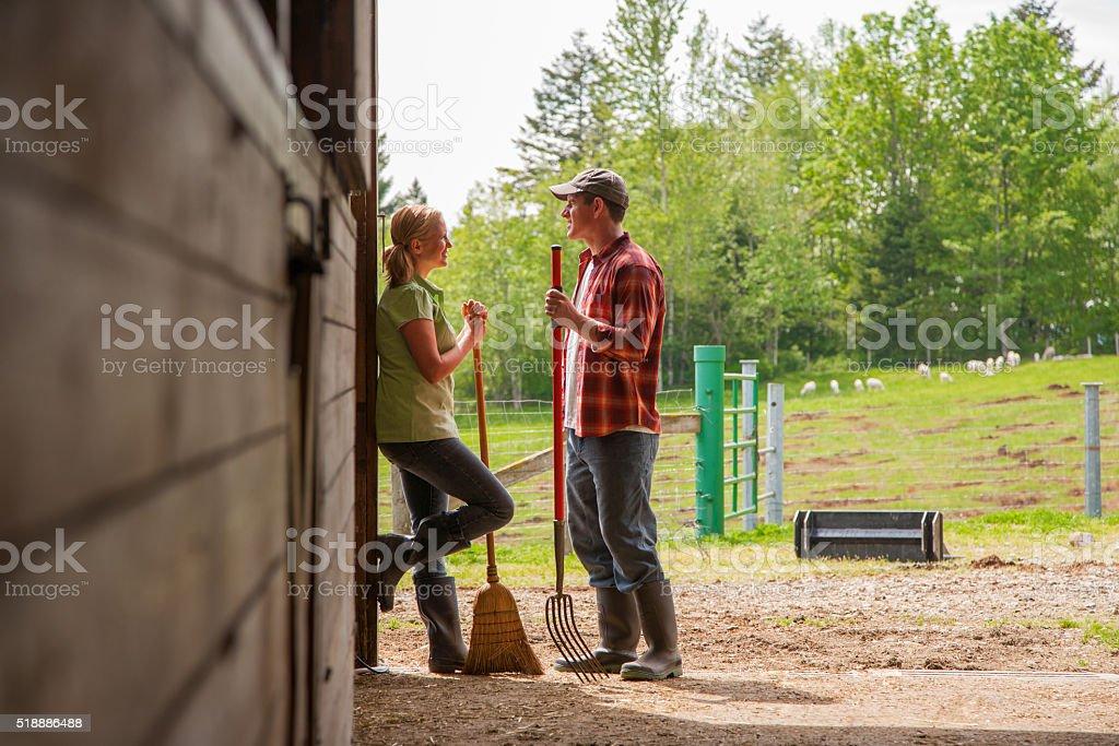 Farmers in barn stock photo