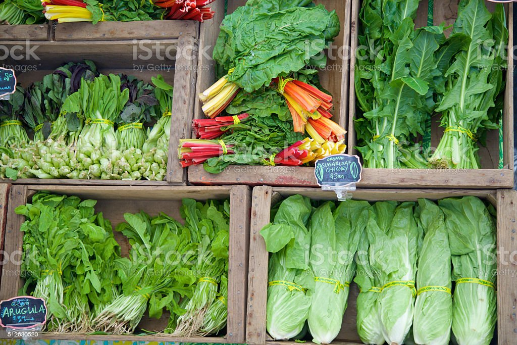 Farmer's marke greens stock photo
