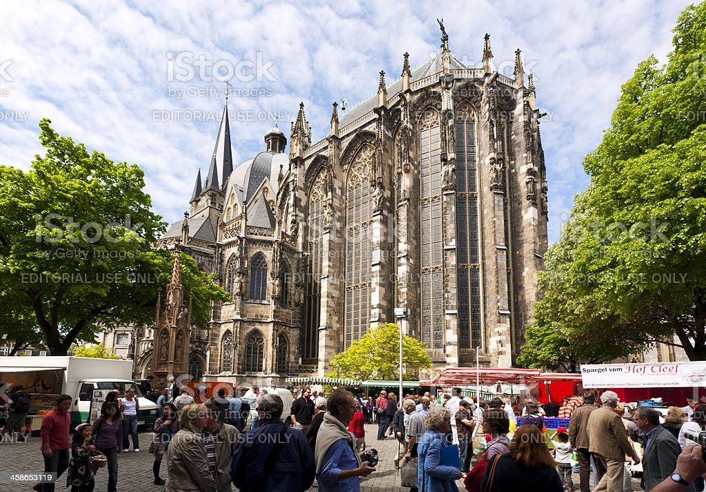 Farmers market at Aachen cathedral stock photo