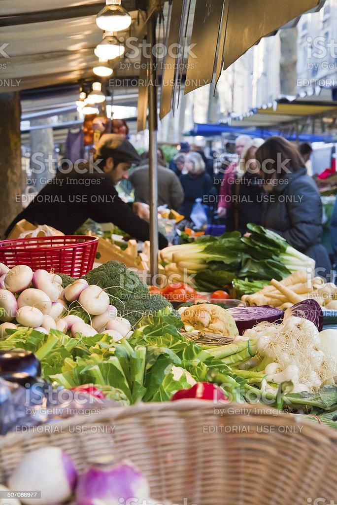 Farmer's Market at Boulevard Raspail in Paris stock photo