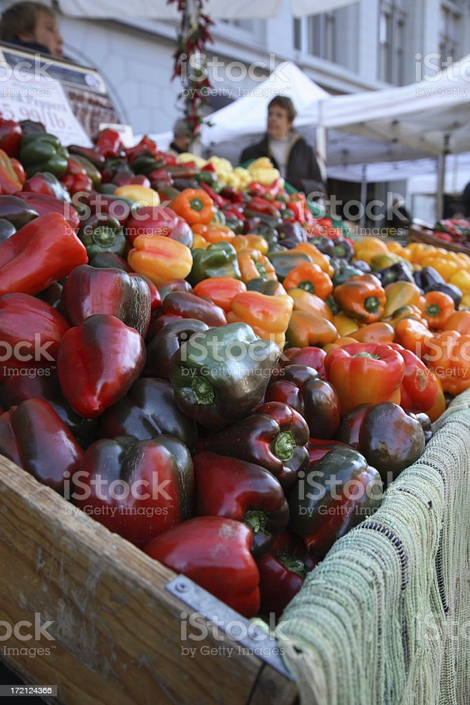 Farmers Market: Bell Peppers royalty-free stock photo