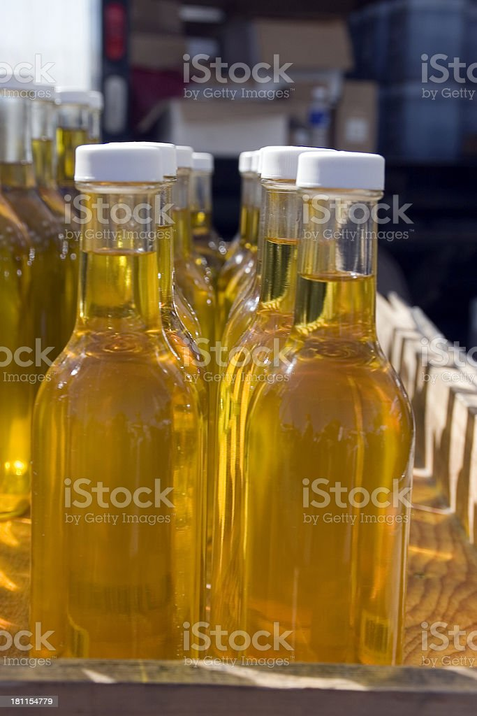 Farmer's Market: Bottles of Olive Oil royalty-free stock photo