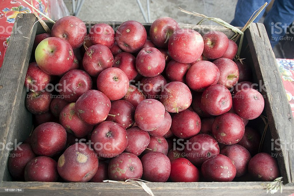 Farmers Market: Box of Fall Apples royalty-free stock photo