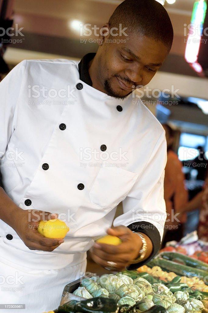 Farmer's Market - Chef Buying Lemons stock photo