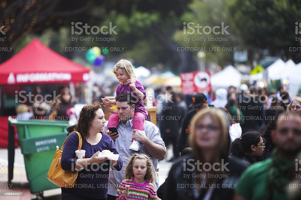 Farmers Market Children on Shoulders royalty-free stock photo