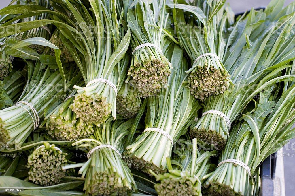 Farmers Market: Dandelion Greens stock photo
