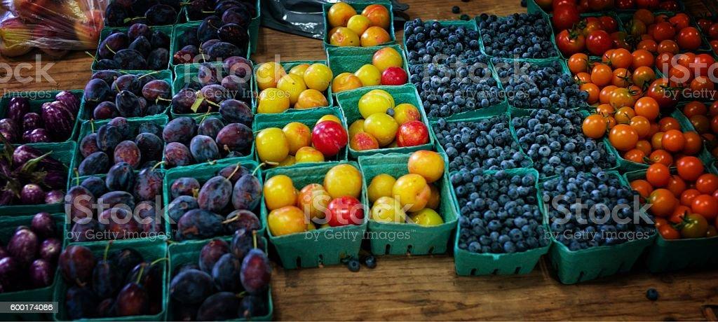 Farmer's Market display of Fruit, Lunenburg, Nova Scotia stock photo