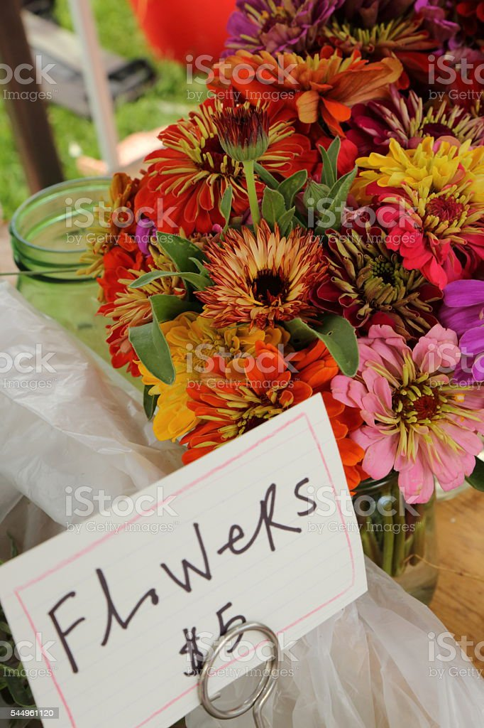 Farmers market flowers stock photo