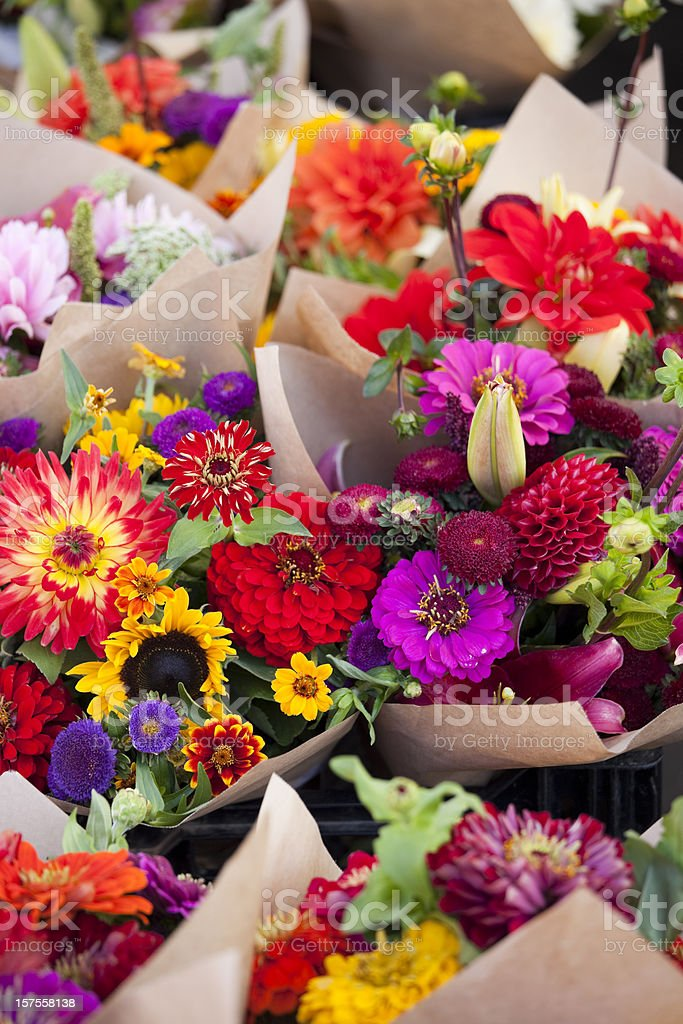 Farmers market fresh bouquets of colorful flowers royalty-free stock photo