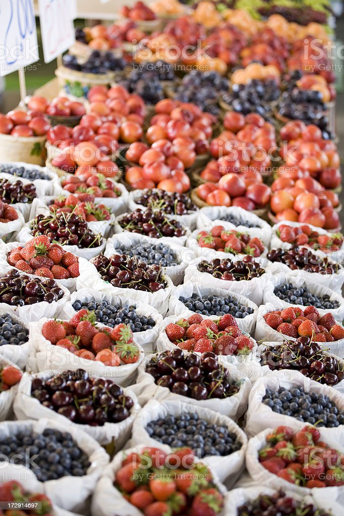 Farmers market fresh fruit and berries royalty-free stock photo