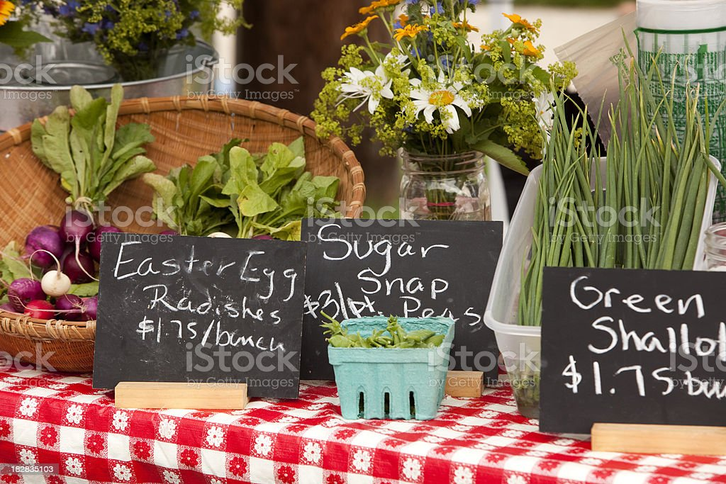 farmer's market fresh produce displayed on red check table cloth royalty-free stock photo