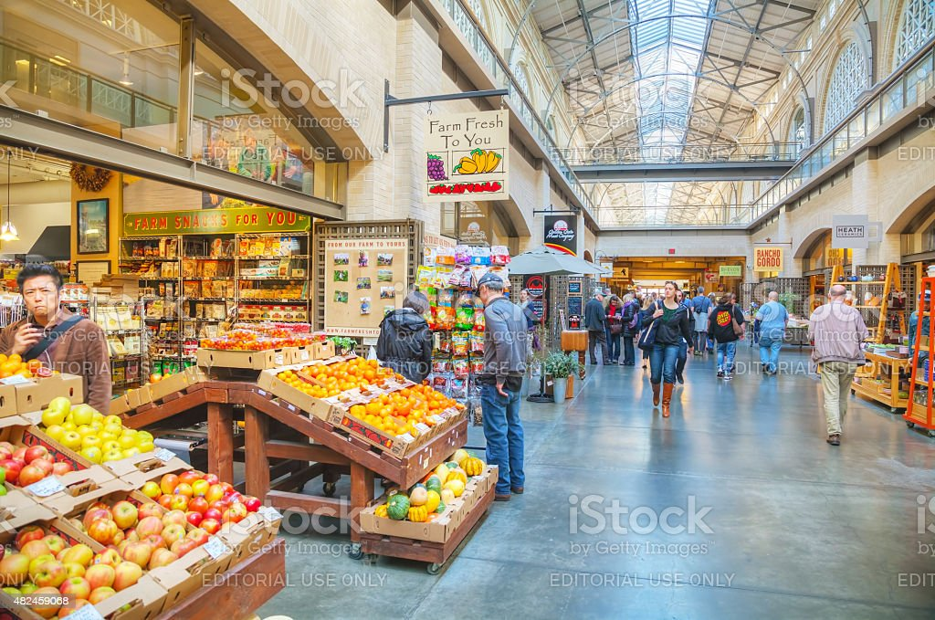 Farmers market hall inside the Ferry building in San Francisco stock photo