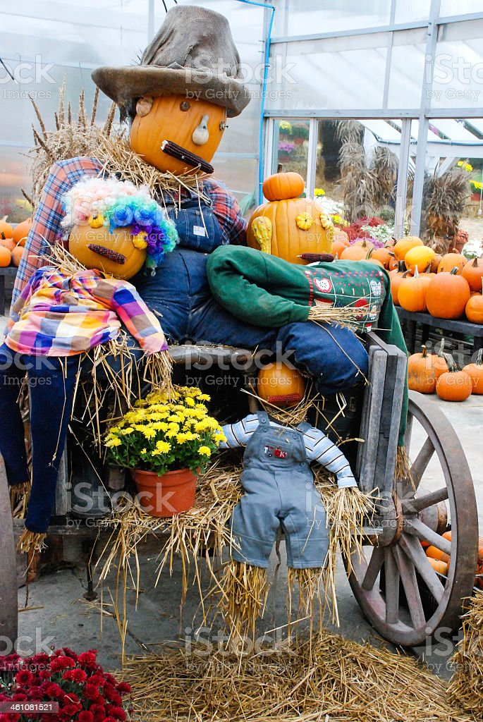 Farmers market Halloween Scarecrow and fall crops East Lyme Connecticut stock photo