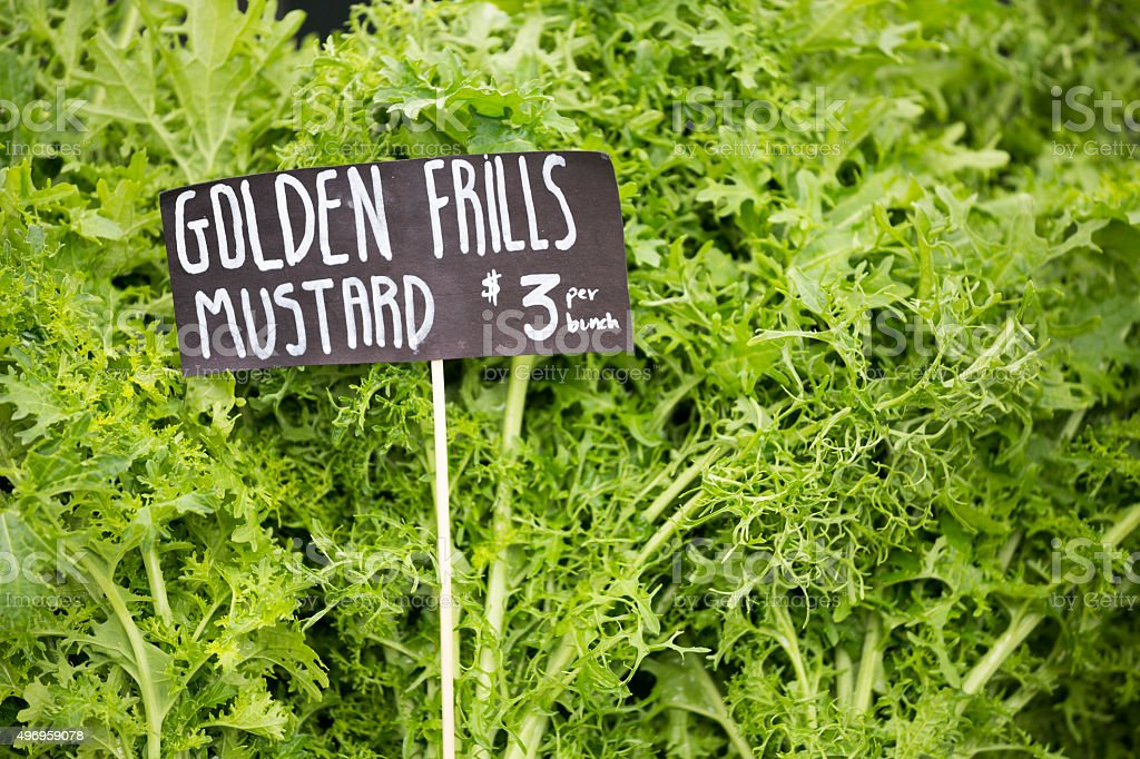 Farmers Market in Ballard, Seattle Washington with Fresh Mustard stock photo
